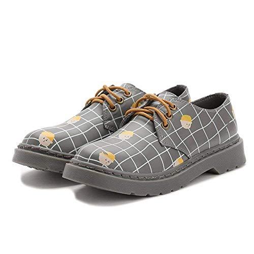 grigio Eu 's Eu 37 Casual 37 Scarpe Donna Retro Bandage Cross Deed Shoes Pu Da Fx7qgtw6