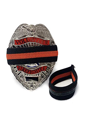 (4-Pack Thin Red Line Stripe Black Fireman Badge with Gripper   Shield Funeral Honor Guard Mourning Band Strap 3/4