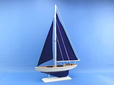 Amazon.com : Wooden Blue Pacific Sailer With Blue Sails Model Sailboat  Decoration 25