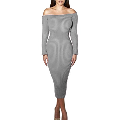 Yizenge Long sleeve Off Shoulder Sweaters Sexy Autumn Soft Tight Elastic Dress (S, Gray)