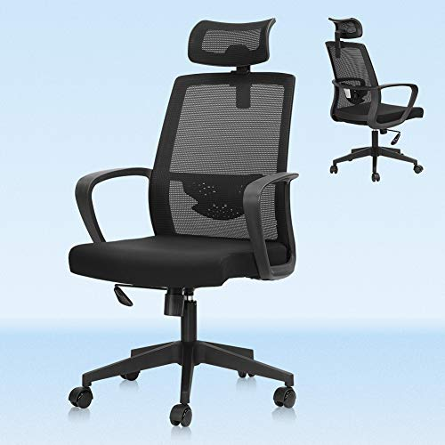 Lv. life Ergonomic Office Chair High Back Mesh Desk Chair with Arm Rests Computer Chair Height Adjustable and Head Support,Black
