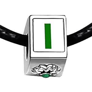 Chicforest Silver Plated Green Letter I Photo Emerald Green Crystal May Birthstone Flower Charm Beads Fits Pandora Bracelet