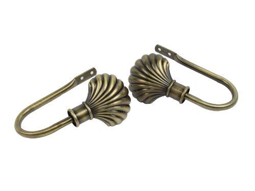 Rod Desyne Clam Holdback Pair for Windows, Antique Brass