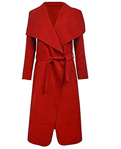 KARDASHIAN Cape Kim CELEBRITY Coat 8 Cardigan Jacket Red Long 14 ITALIAN Waterfall Belt EqF8AA