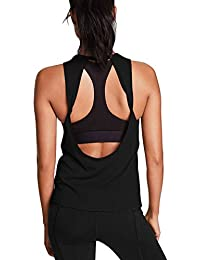 Womens Cute Workout Tops Open Back Yoga Shirts Gym Clothes Running Tank Tops