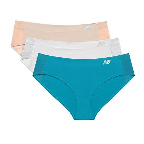 New Balance Women's Hybrid Soft Jersey mesh Panels Hipster Underwear (Pack of 3), Nude/Mink/Deep Ozone Blue, X-Large (16) ()