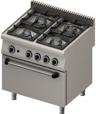 Cucina Professionale A Gas 4 Fuochi Con Forno Kw 29 Dim Cm 70x80x90h Amazon It Casa E Cucina
