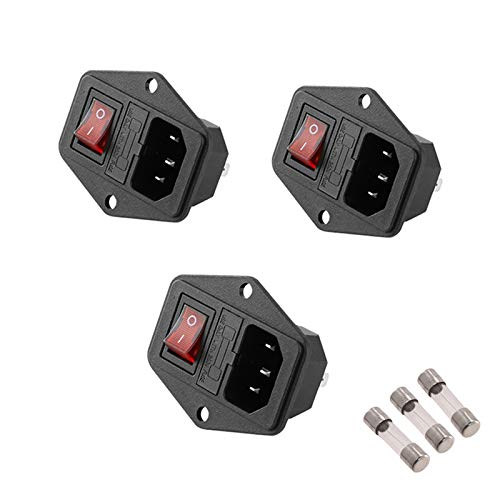 3Pcs 3 in 1 Panel Mount Inlet Module Plug Socket Power Entry Connector Male Blades AC 250V 10A 3 Pin with Fuse Holder Rocker Switch