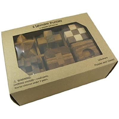 6 Wooden Puzzle Gift Set In A Wood Box - 3D Puzzles for Adults and Teens: Toys & Games