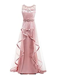 Tideclothes Long Fantastic Prom Dress Beading Sweep Train Evening Dress