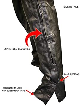 Xelement B7470 Mens Black Premium Leather Motorcycle Overpants with Side Zipper and Snaps 30