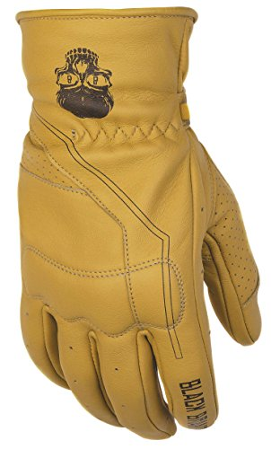 Black Brand Men's Leather Pinstripe Motorcycle Gloves (Tan, Large)