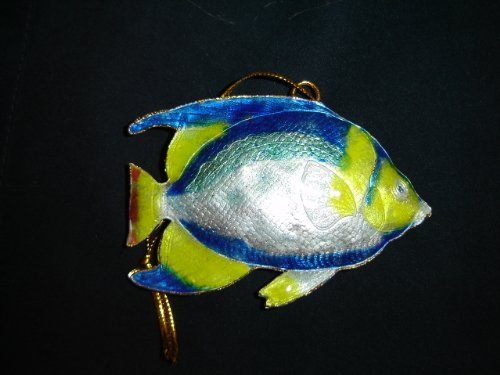 Cloisonné tropical fish Christmas tree ornament - blue & yellow (Cloisonne Fish compare prices)