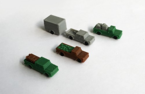 Outland Models Railroad Scenery Pick Up Truck Set With Loads And Trailer Z Scale