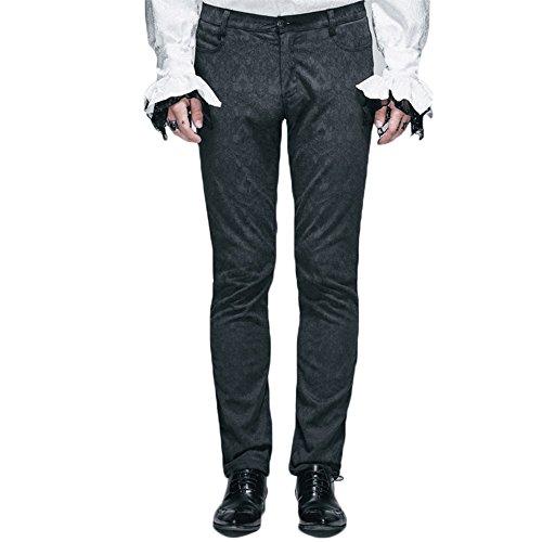 Devil Fashion Gothic Man Dress Pants Steampunk Black Casual Straight Trousers (XL, Black)