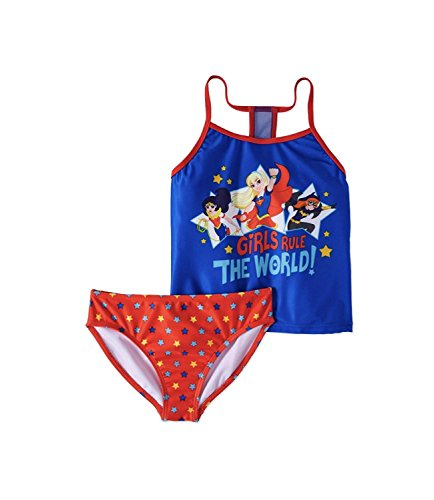 DC Super Hero Girls Swimwear Swimsuit (Little Kid/Big Kid) (Navy/Red, 6/6X)