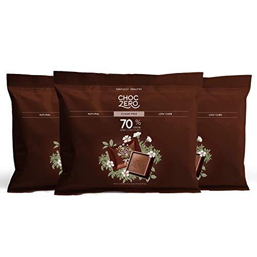 ChocZero 70% Dark Chocolate, Sugar free, Low Carb, No Sugar Alcohol, No Artificial Sweetener, All Natural, Non-GMO - (3 Bags, 30 pieces)