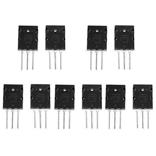 High Power Amplifier Transistor Matched Audio Silicon Transistor for Model 2SA1943 2SC5200, 5 Pairs