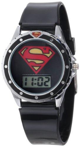 Superman Kids' SUP4019 Black Silicone Superman Logo Strap Watch