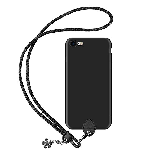 pzoz Case Compatible iPhone 7/8 Case, Silicone Lanyard Case Cover Holder Long Hanging Neck Wrist Strap Outdoors Travel Necklace Compatible iPhone 7/iPhone 8 (NOT Plus)(Black)