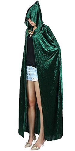 [Feelme Womens Velvet Hooded Cloak Halloween Cosplay Wizard Full Length Party Cape] (Goth Vampire Mask)