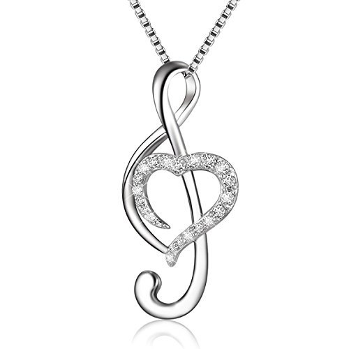 (925 Sterling Silver Music Note Love Heart Necklace Pendant, Box Chain 18