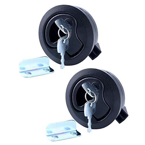 "Amarine-made 2"" Black Flush Pull Slam Latch for Boat Deck Hatch 1/4"" Door Locking Style - 2 PCS"