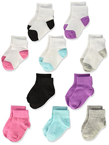 Fruit of the Loom Baby Girls' Ankle 10 Pack Sock, Assorted, 4-8.5 Toddler Girls Socks