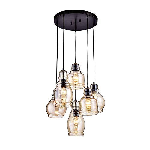 KALRI Vintage Kitchen Island Cognac Glass Chandelier Pendant Lighting Fixture with 6-Light, Antique Black Finish Ceiling…