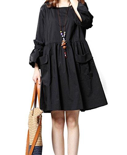 (イン二ファー)Innifer レディース ワンピース 春 ワンピース 可愛い設計 ドレス 綿 Uネック 7分袖 ベルスリーブ ワンピ 体型カバー ゆったり