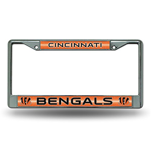 NFL Cincinnati Bengals Bling Chrome License Plate Frame with Glitter Accent