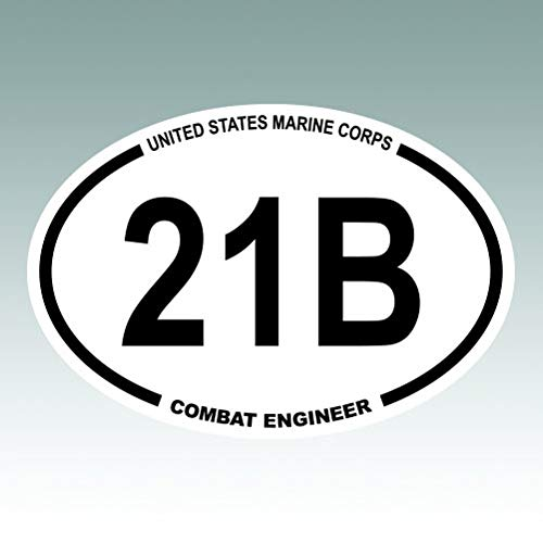 RDW United States Marine Corps MOS 21B Combat Engineer Oval - Color Sticker - Decal - Die Cut - Size: 6.00