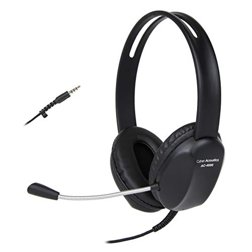 Cyber Acoustics 3.5mm Stereo Headset with Headphones and Noise Cancelling Microphone for PCs, Tablets, and Cell Phones in The Office, Classroom or Home (AC-4000)