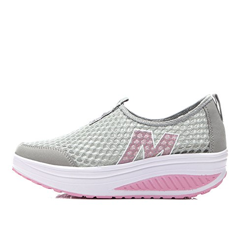 Zicoope Damen Athletic Casual Slip-On Toning Sneaker Wanderschuh Grau (m)