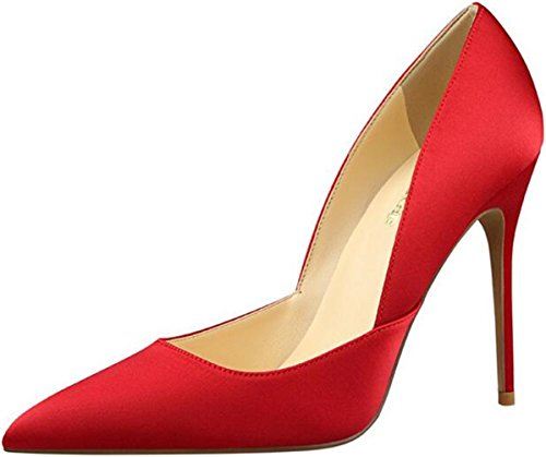 PPXID Women's Fashion Satins Pointed-Toe High Heels Pumps Party Stilettos-Red 7 US Size