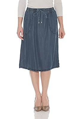 Esteez Women's Knee Length A Line Jean Skirt Tencel Denim Savannah
