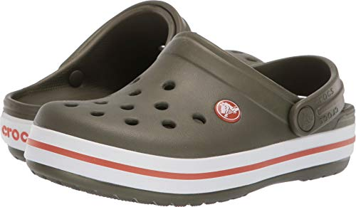 Crocs Kids' Crocband Clog, army green/burnt sienna, 8 M US Toddler