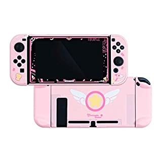 U Core Protective Case & Screen Protector Sets for Nintendo Switch, Soft Touch DIY Replacement Shell with Shock-Absorption and Anti-Scratch - Cardcaptor Sakura