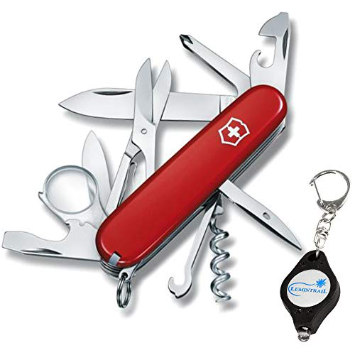 Explorer Multi Tool - Victorinox Swiss Army Explorer Multi-Tool Folding Pocket Knife (16 Functions) BUNDLE with a Lumintrail Keychain Light (Red)