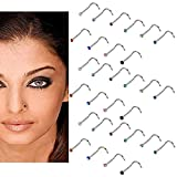 30Pcs 20 Gauge Stainless Steel Nose Rings Studs L Shaped Crook Nose Body Piercing Jewelry 2mm Diamond CZ Nose Stud L Bend for Women Girl Piercing (Multicolor)