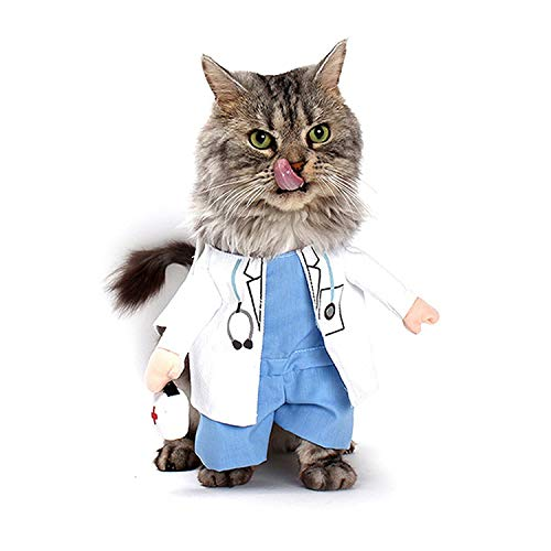 Huntty Dog Like Pet Halloween Doctor Costume Dog Jeans Clothes Cat Funny Apparel,White,S for $<!--$19.99-->