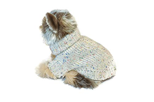 Le Petit Chien Small Dog Puppy Cable Knit Sweater (X-Small, NEP Beige)