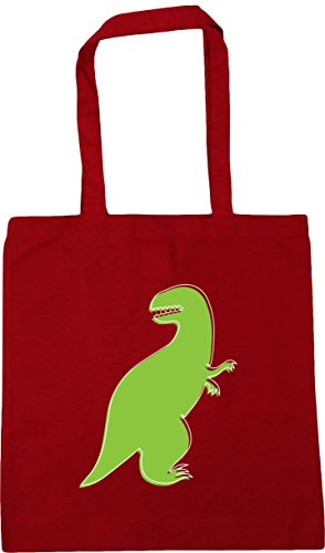 HippoWarehouse Green Dinosaur illustration Tote Shopping Gym Beach Bag 42cm x38cm, 10 litres Classic Red
