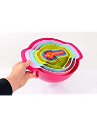 Bargain 10-Pieces Stackable Collapsible Measuring Cups and Spoon Plastic Bowl Sets by Nature's Kitchen to Measure Dry... offer