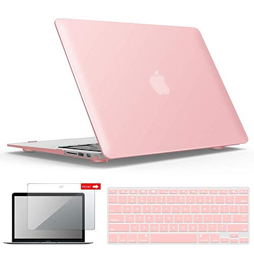 IBENZER MacBook Air 13 Inch Case, Soft Touch Hard Case Shell Cover with Keyboard Cover Screen Protector for Apple MacBook Air 13 A1369 1466 NO Touch ID, Pink, MMA13PK+2 FBA