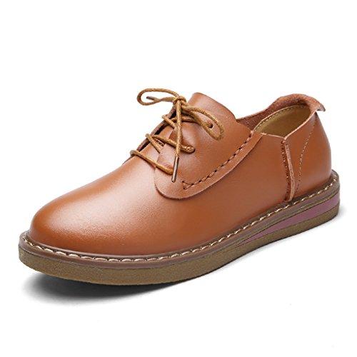 HWF Zapatos para mujer Zapatos casuales planos de encaje de cuero de mujer de estilo británico femenino de primavera Zapatos solos universitarios ( Color : Negro , Tamaño : 37 ) Marrón