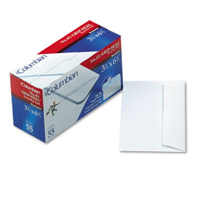 Columbian CO140 Grip-Seal Security Tint Business Envelope, 6 3/4, 3 5/8 x 6 1/2, White, - Seal Envelopes Business Grip