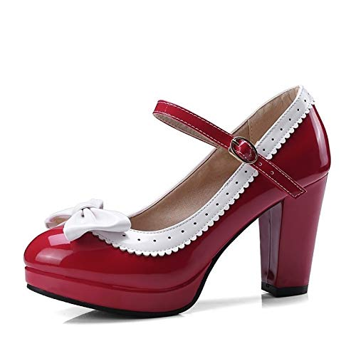 Chunky Heel Leather Pink Spring Women's ZHZNVX Comfort Pink Patent Red Shoes Summer amp; Heels Purple pAvxqzw
