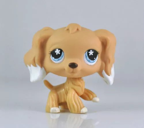 DEEJOE Pet Shop Puppy Tan Long Hair White Ears Cocker Spaniel Dog LPS Action Figure Toy 2