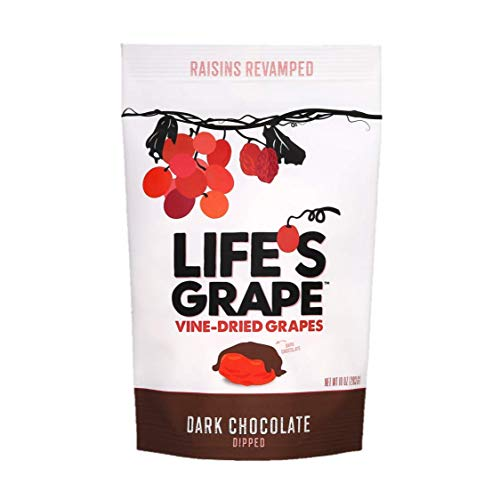 Life's Grape Dark Chocolate Vine Dried Fruit | Raisins Revamped | Low Carb | California Grown | Non-GMO, Gluten Free, Kosher | 120 Calorie Resealable Pouch